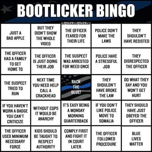 Bootlicker Bingo