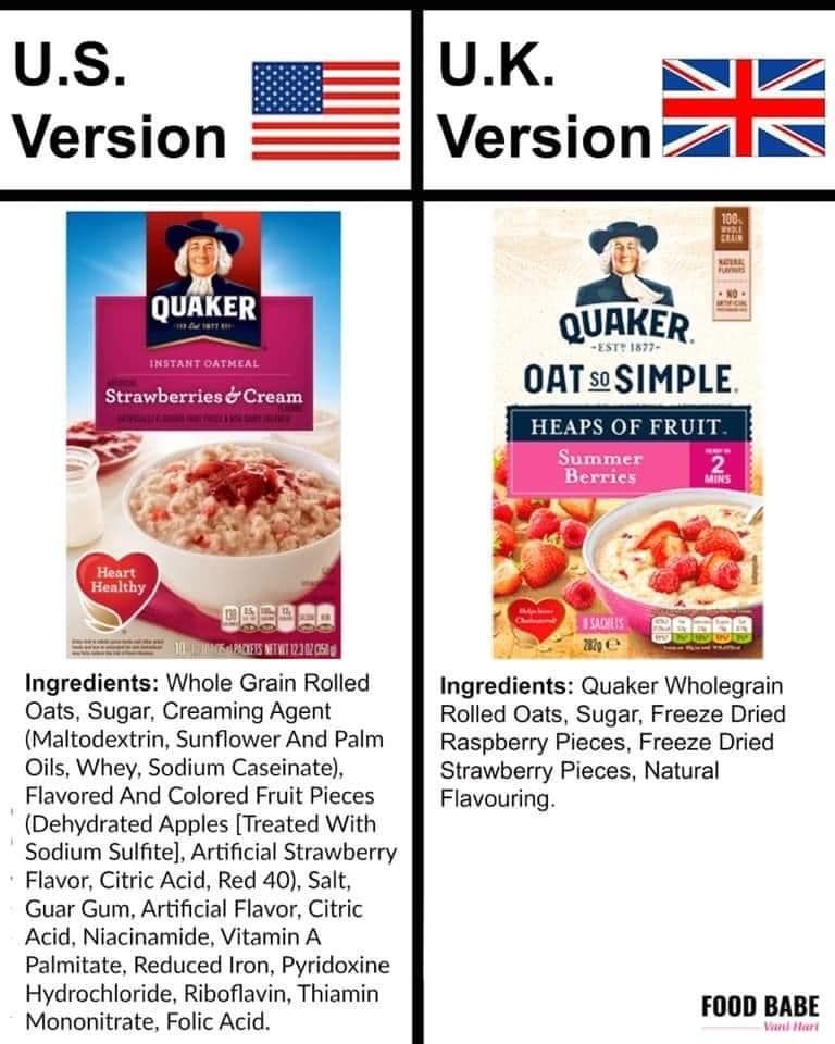 The difference in Euro and American Quaker Oats