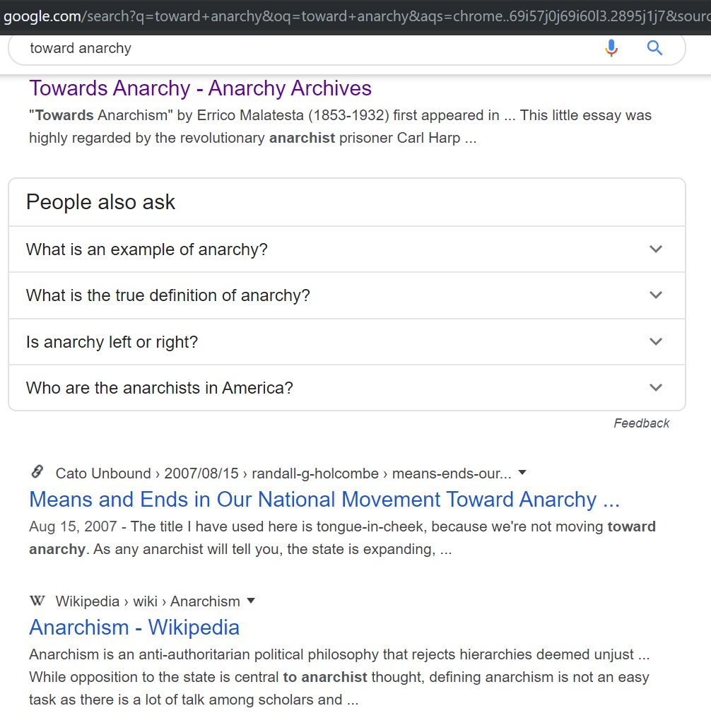 Toward Anarchy Search on Google